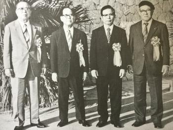 戦後の沖縄空手界をけん引牽引した重鎮の4人(1977年当時)。左から比嘉佑直(小林流)、長嶺将真(松林流)、上地完英(上地流)、八木明徳(剛柔流)
