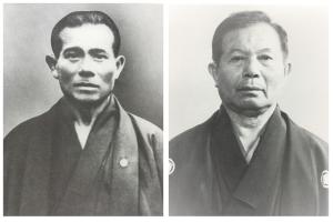 戦後まもなく亡くなった上地完文翁(左写真)と、二代目宗家の上地完英(右写真、66歳のころ)