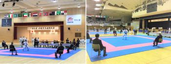 第1回国際大会は2会場を使って行われた(左「空手会館」、右「県立武道館」)
